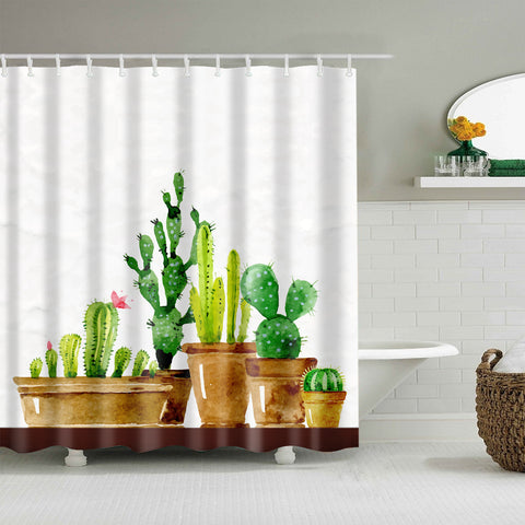Botanical Green House Pot Plant Cactus Shower Curtain