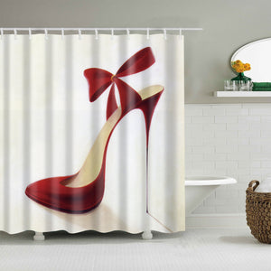 Bow Knot Red High Heel Shoe Shower Curtain