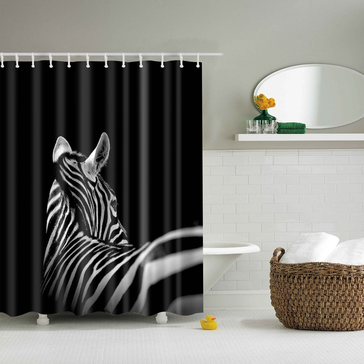 Breathtaking Black and White Zebra Portraits Shower Curtain | GoJeek