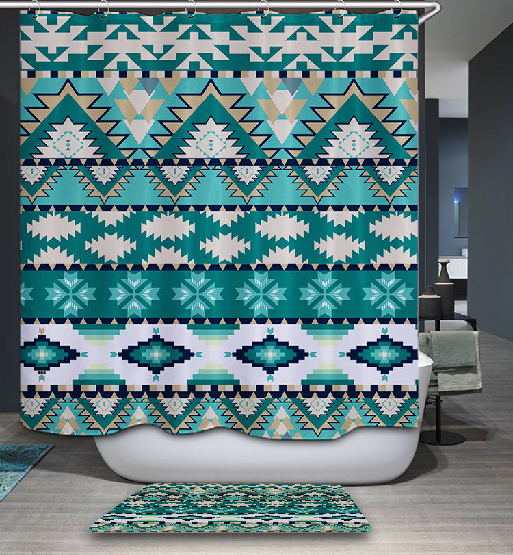 Bright Blue Aztec Shower Curtain