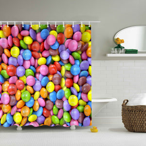 Bright Colored Chocolate Beans Candy Shower Curtain
