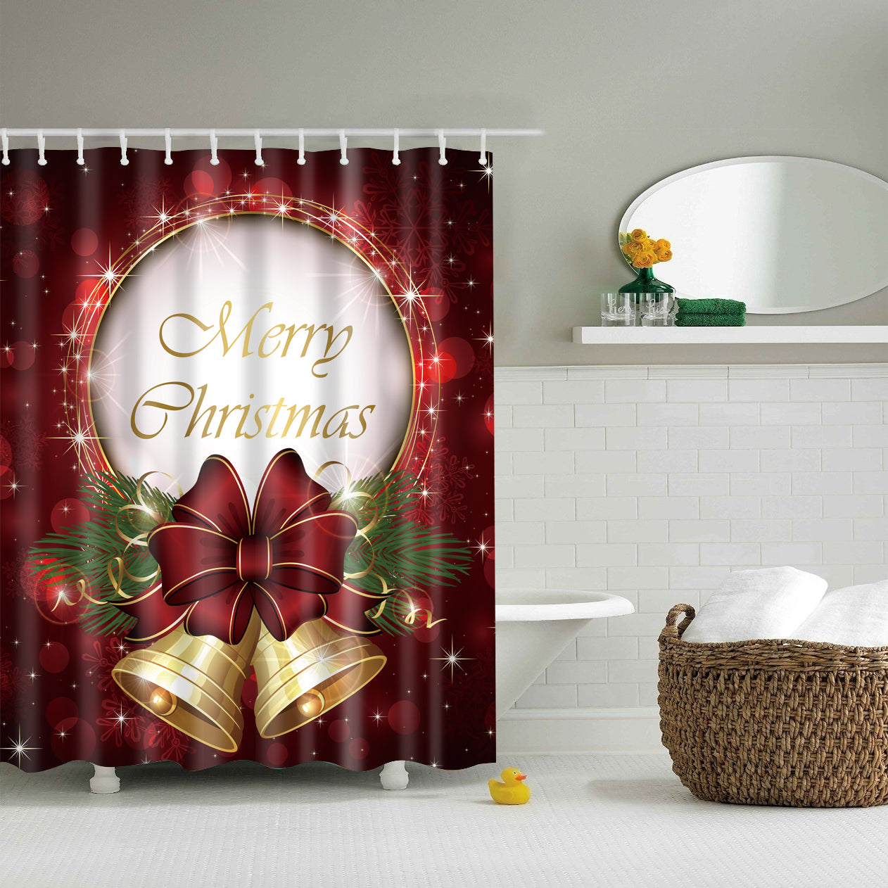 Brown White Backdrop Hand Drawing Christmas Ornaments Shower Curtain