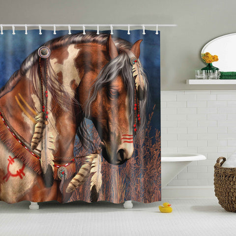 Brown Horse Round Diamond Painting Shower Curtain