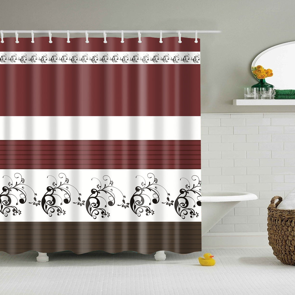 Brown Traditional Floral Pattern Shower Curtain
