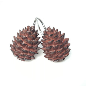 Brozon Finish Antique Resin Pinecone Shower Curtain Rings Hooks