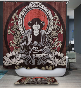 Buddha Monkey Meditation Shower Curtain