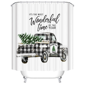 Buffalo Plaid Wonderful Christmas Holiday Grey Truck Shower Curtain