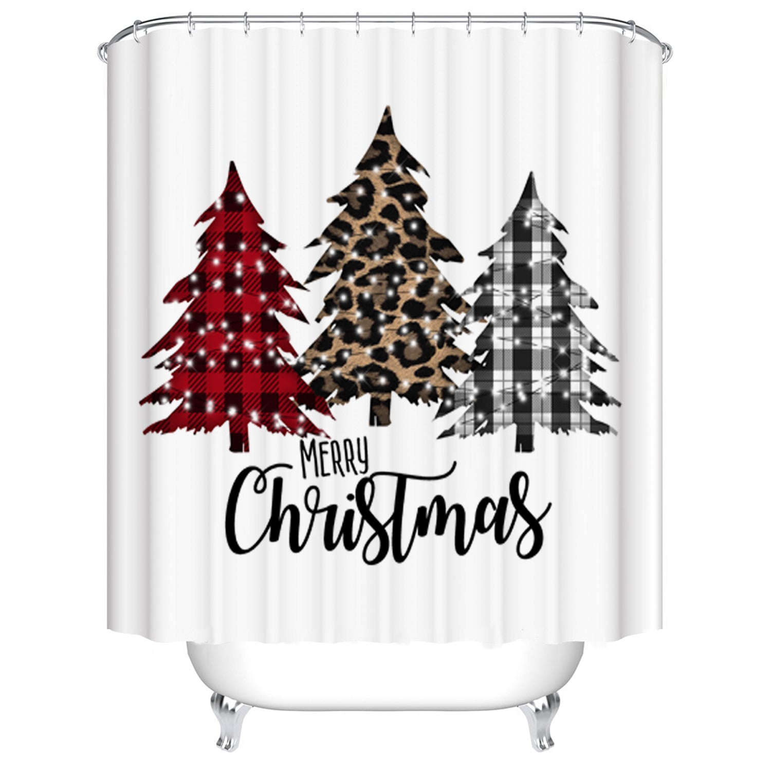 Buffalo Plaid with Leopard Print Christmas Tree Shower Curtain