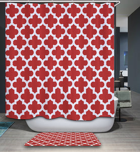 Burgundy and White Geometric Pattern Shower Curtain