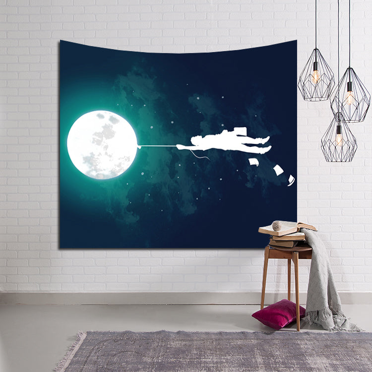 Burn the Midnight Flying Moon Tapestry Home Living Room Decor