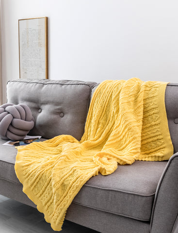 Cable Knit 4 Season Single Layer Sherpa Couch Throw Blanket