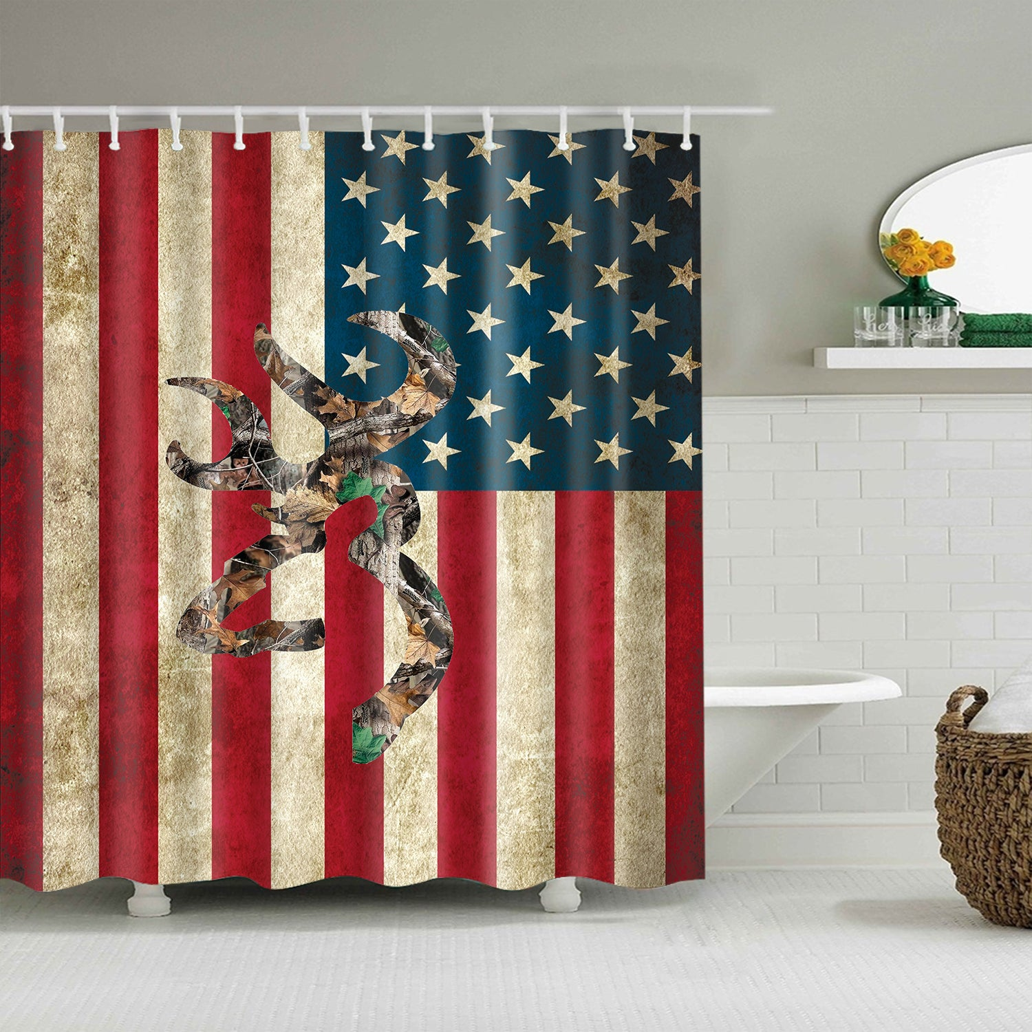 Camo Hunting Memorial Day United States Vintage Flag Shower Curtain