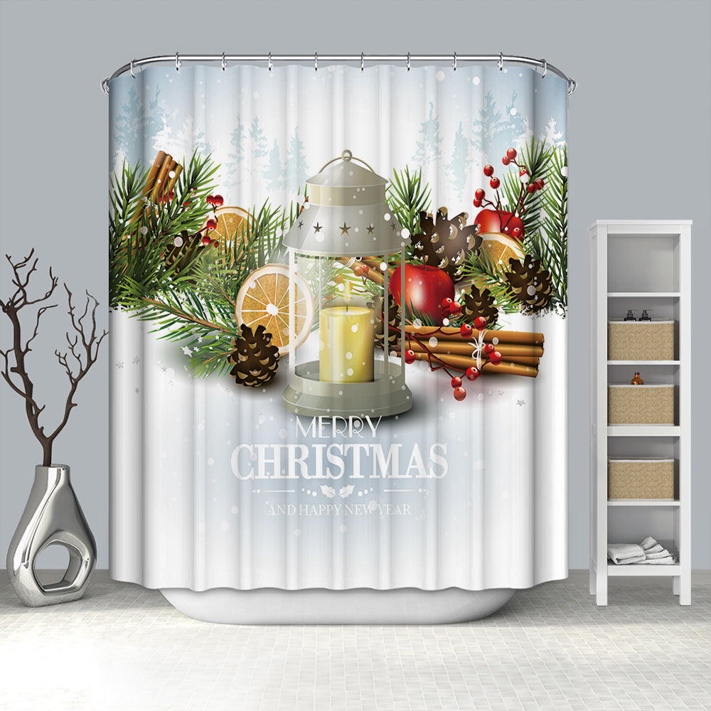Candle Lantern with Christmas Tree Ornaments Shower Curtain