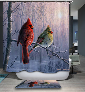 Cardinal Birds Waiting Morning Sunshine Shower Curtain