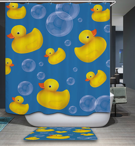 Cartoon Bubble Bath with Rubber Duck Shower Curtain