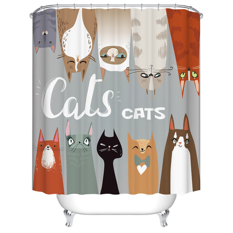 Cartoon Drawing Art Sets of Doodle Cat Shower Curtain