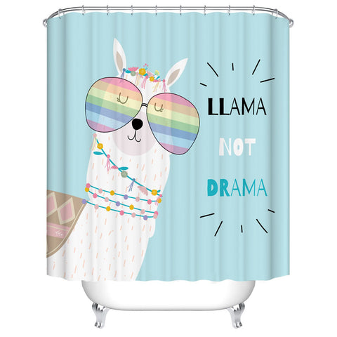 Cartoon Llama Shower Curtain Girly Llama not Drama