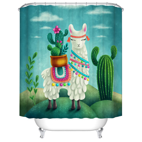 Cartoon Tribal Alpaca Llama Cactus Shower Curtain with Pot of Cactus Plant