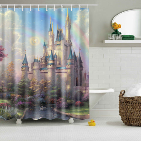 Cartoon Princess Disney Cinderella Castle Shower Curtain | GoJeek