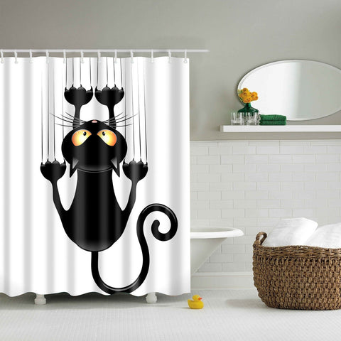 Cartoon Black Cat Shower Curtain