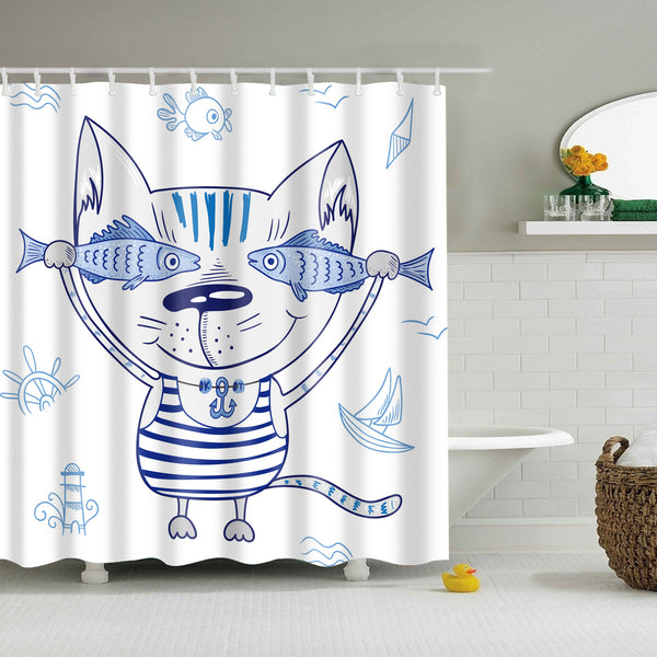 Delicieux Cartoon Cat With Fish Shower Curtain | GoJeek