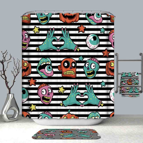 Cartoon Comic Halloween Set of Zombie Shower Curtain | GoJeek