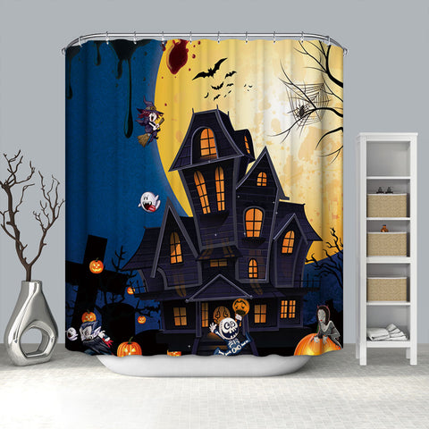 Cartone animato Halloween Haunted House al Full Moon Shower Curtain