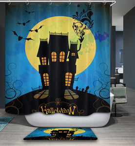 Cartoon Halloween Night Scary Moon with Bats Castle Shower Curtain