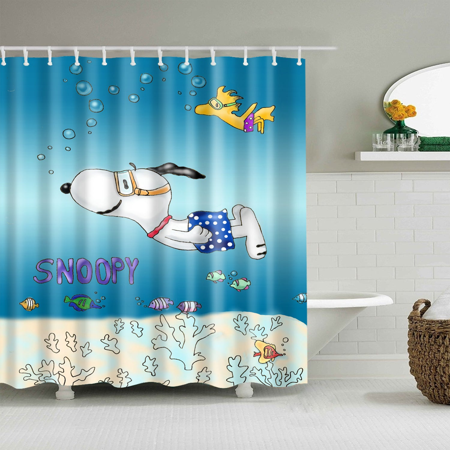 Cartoon Happy Swimming Snoopy Shower Curtain