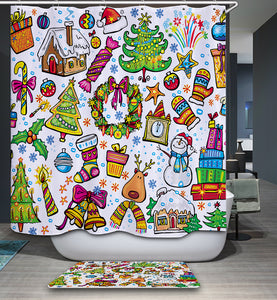 Cartoon Kids Colorful Christmas Ornament Painting Shower Curtain