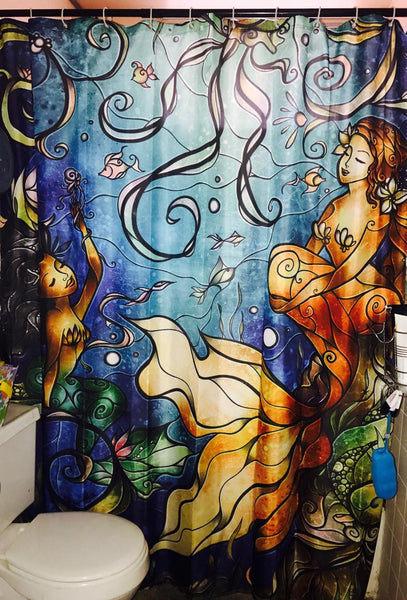 Cartoon Mermaid Shower Curtain Blue Undersea Decor Bathroom Decor