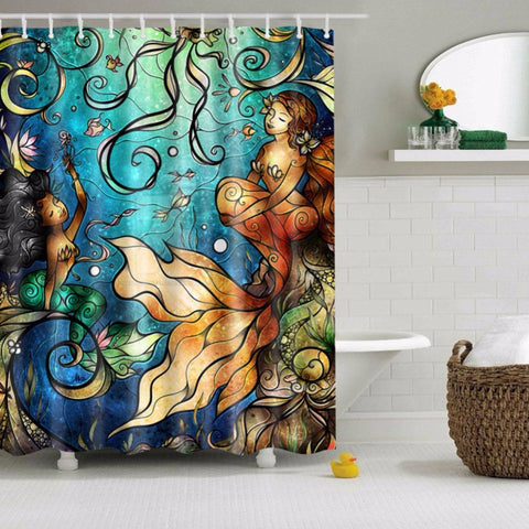 Cartoon Mermaid Shower Curtain Blue Undesea Decor | GoJeek