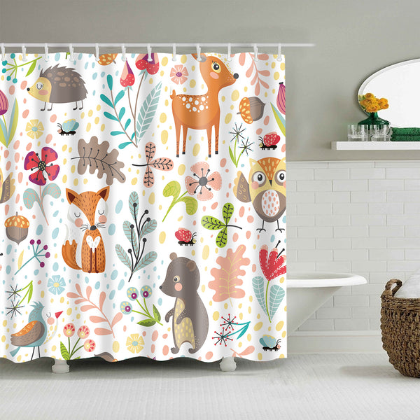 Cartoon Seamless Autumn Forest Animal Fox Deer Shower Curtain
