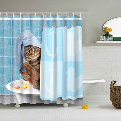 Cat Bathing Shower Curtain | GoJeek
