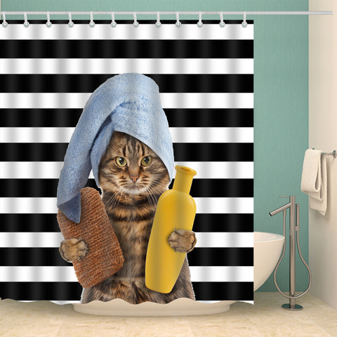 Cat Bathing Time Black Striped Shower Curtain