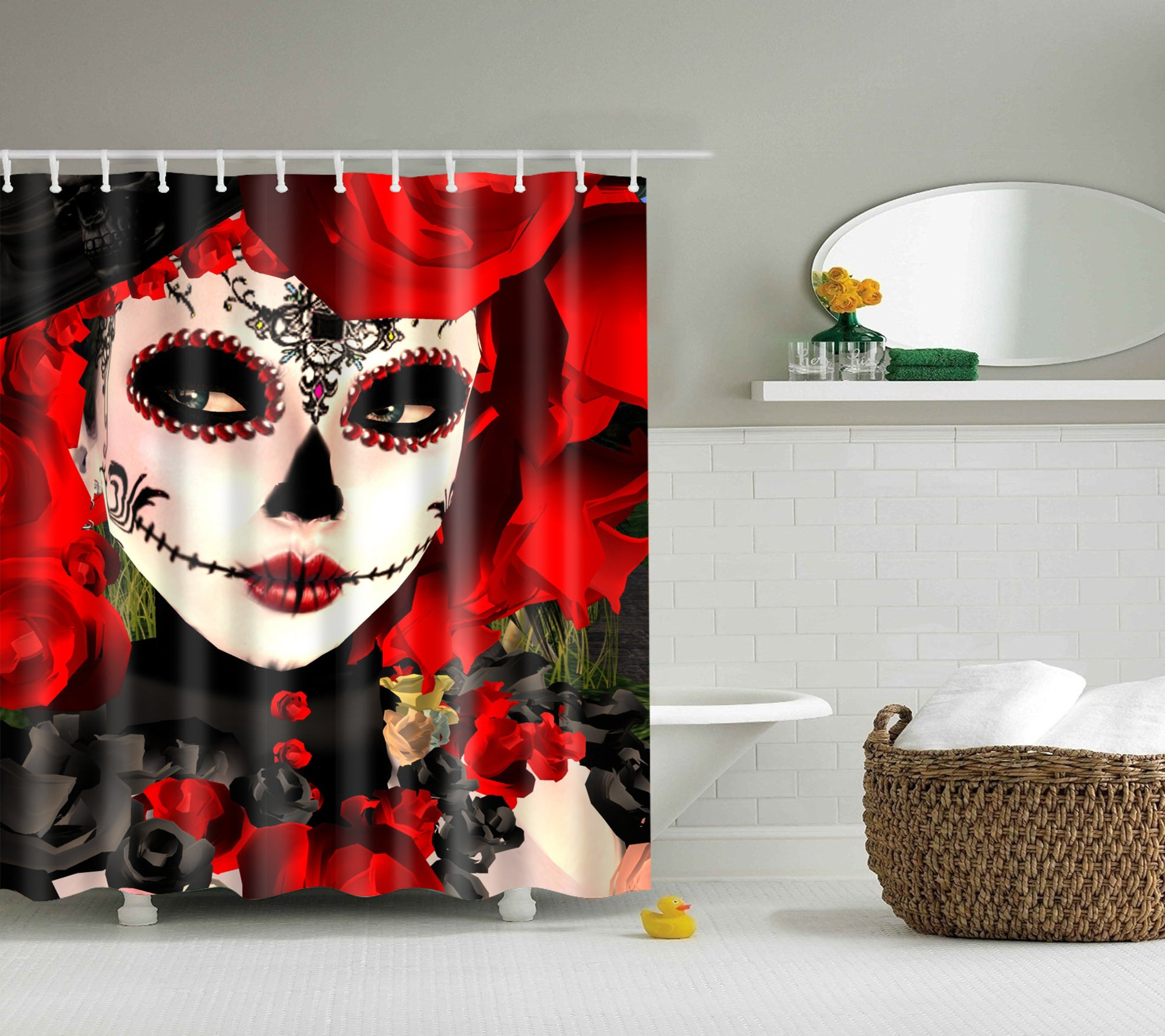 Catrina Makeup Skull Day Of The Dead Shower Curtain