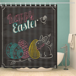 Chalking Freehand Drawing Easter Shower Curtain