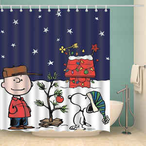 Charlie Brown With Snoopy Christmas Peanuts Shower Curtain