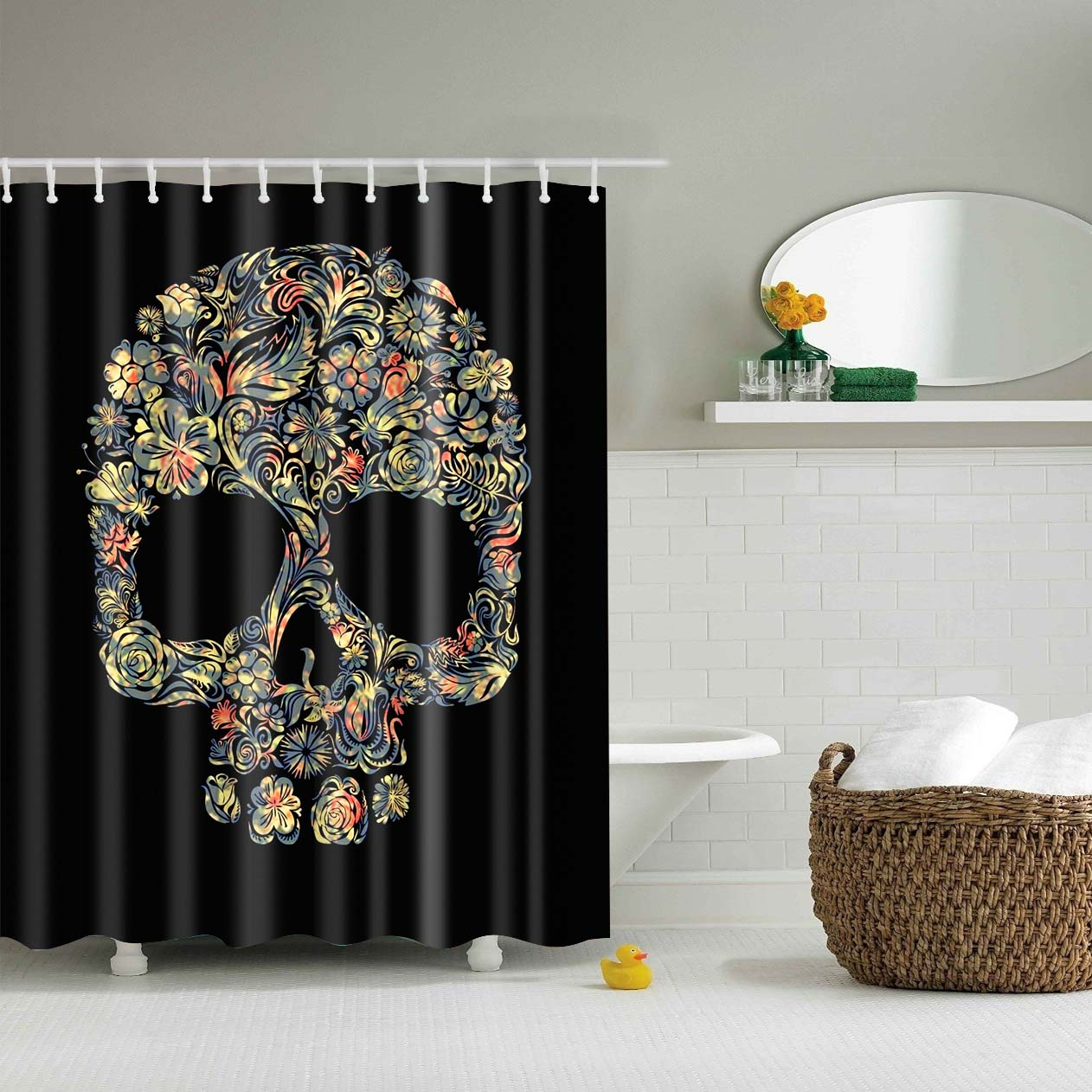 Cheap Sugar Skull Floral Shower Curtain | GoJeek