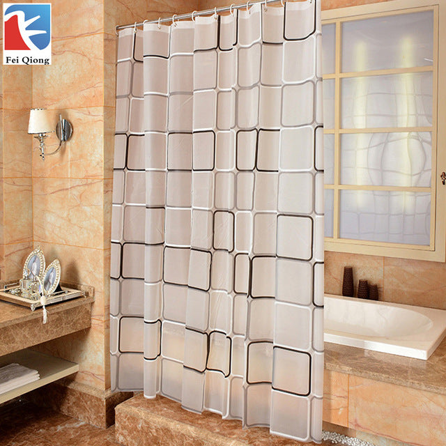 Checkered Transparent Grey Plaid Shower Curtain | GoJeek