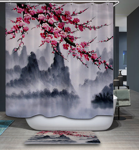 Cherry Blossom Mountain Painting Shower Curtain