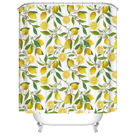 Chic Branches Tropical Fresh Citrus Fruit Slice Lemon with Leaves Lush Lemon Shower Curtain