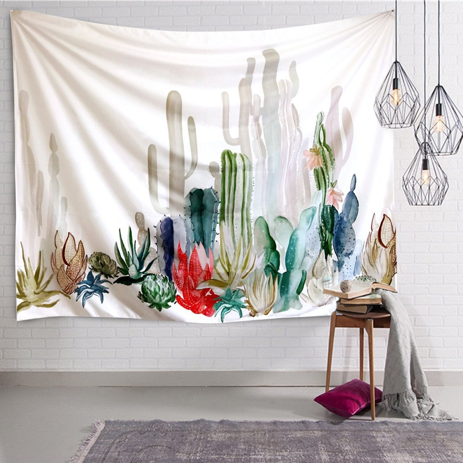 Chic Landscape Garden Colorful Cactus Wall Tapestry