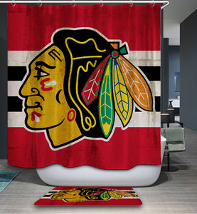 Chicago Blackhawks Hockey Team Striped Shower Curtain