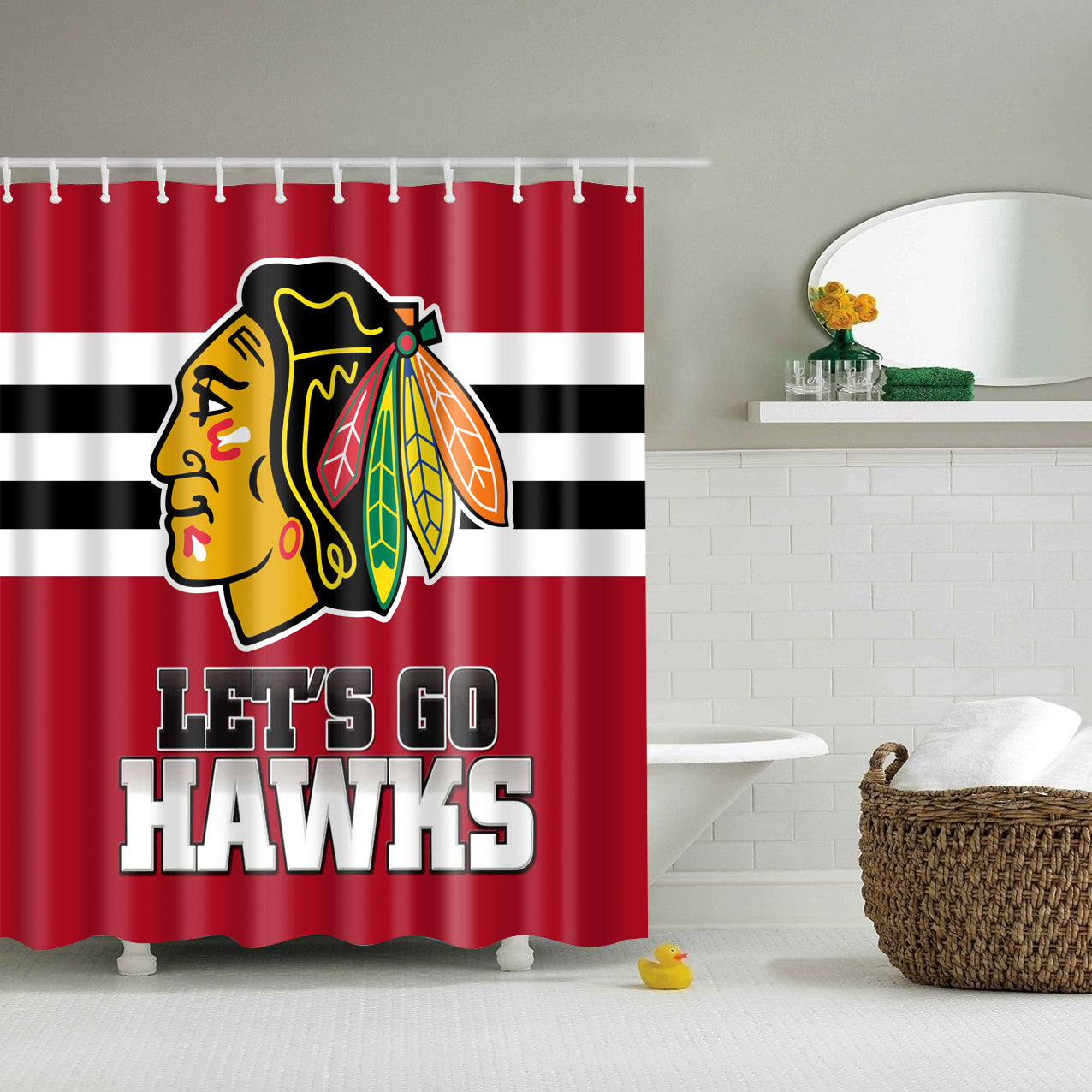 Chicago Lets Go Hawks Shower Curtain