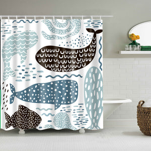 Childish Texture Sea Animal Ceature Whale Shower Curtain