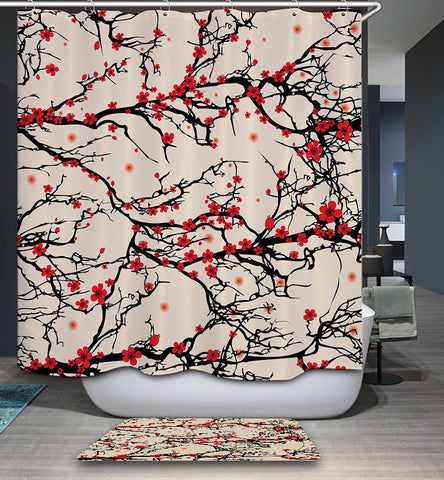 Chinese Burgundy Plum and Cherry Blossoms Shower Curtain