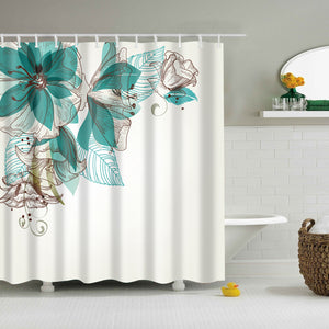 Chinese Ink Painting Blue Green Floral Shower Curtain