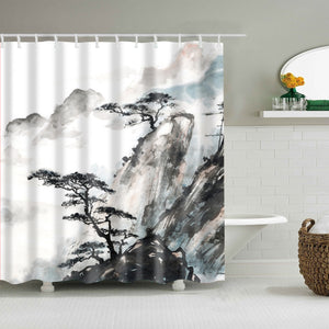 Chinese Landscape Painting Pine Tree Shower Curtain