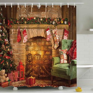 Christmas Socks Hanging at Fireplace Shower Curtain